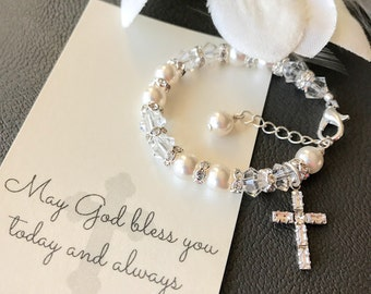 First Communion Gift - Baptism Gift - First Communion Bracelet - Baptism Bracelet - Diamond Cross Bracelet - Pearl and Crystal Bracelet B186