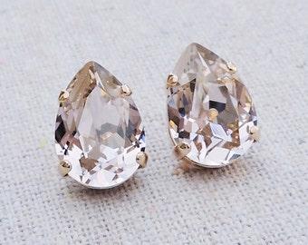Swarovski Blush Pink Crystal Teardrop Rhinestone Pear Rose Gold Post Earrings Wedding Bridal Jewelry Bridesmaids Presents Gift for Her