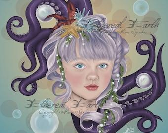 Portrait of a Merchild Tentacles Mermaid Child Bubbles - 9x12 Limited Edition Print