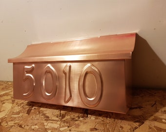 Wall Mount Copper Mailbox with embossed house number