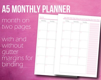Month On Two Pages, Monthly Planner, A5 Planner Inserts, Planner Printable, A5 Planner, Instant Download, A5 Refill, PDF