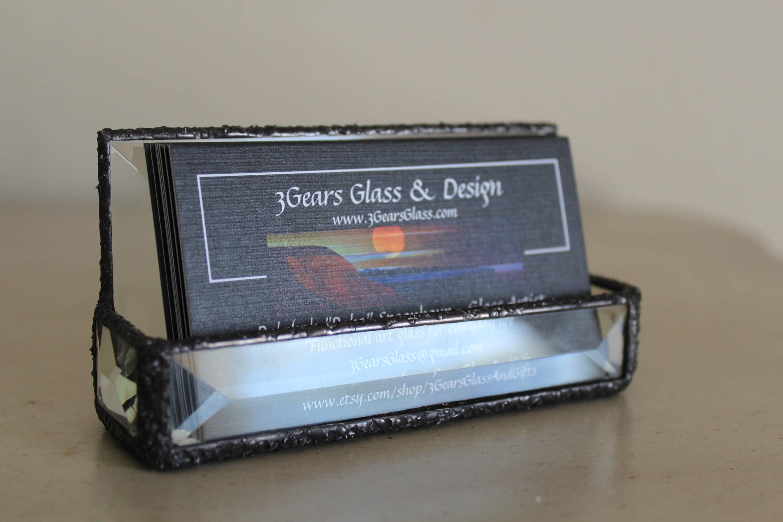 Business card holder Beveled glass business card holder