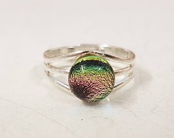 Pink dichroic glass ring