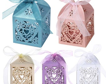 10/lot Pearlescent Wedding Favor Box With Heart Design