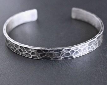 Mens Hammered Cuff Bracelet, Oxidized Sterling Silver Bracelet