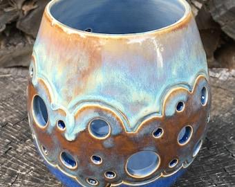Blue candle holder, luminary, tealight holder, blue candle holder, clay lantern, pottery candle holder, DL17148