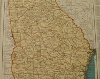 Georgia Map,Atlanta Augusta Brunswick Knoxville,USA State Maps,United States Wall Map Art,Place on the World Map,1942 9x12 VS11