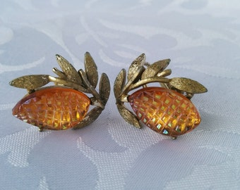 Vintage Coro Gold Tone and Carnival Glass Earrings-Screw On
