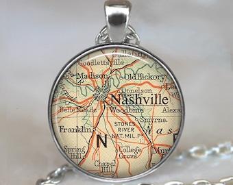Nashville map necklace, Nashville pendant, Nashville necklace, Nashville Tennessee necklace, Nashville TN travel map keychain key fob