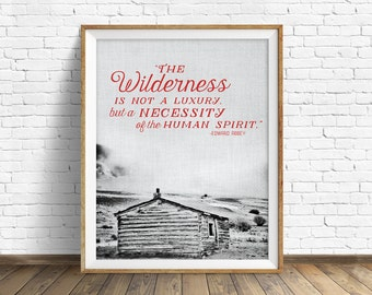 """typography print, printable quote, large art, large wall art, modern, contemporary, landscape photography, rustic, wall art - """"Wilderness"""""""