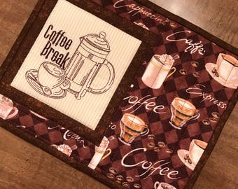 Quilted mug rug, coffee theme, mug mat, snack mat, coaster, mini-placemat,. trivet, candle mat, Quiltsy handmade, Item #327