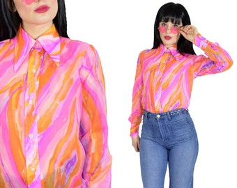 vintage 70s psychedelic blouse sheer pink swirl op art print butterfly collar top 1970s disco shirt pastel hippie shirt novelty small