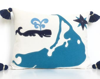 Nantucket Map & Spouting Whale Pillow in Teal and Navy Blue Felt Applique on Creamy White Canvas with Handmade Tassels