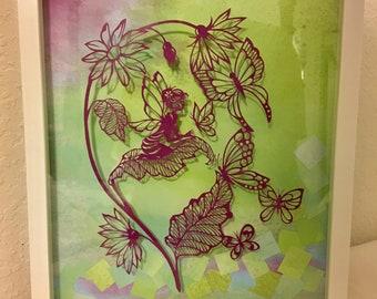 Fairy Dust Hand Cut Silhouette / Paper Art / Scissor Cut Art / Fantasy Art/ Tinkerbell /