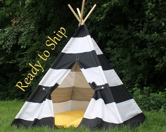 Black and White Kids Tent, Tent for Kids, Can Include Window, Teepee Play Tents, Childrens Teepee, Tee Pee,, Kids Teepee Ready to Ship