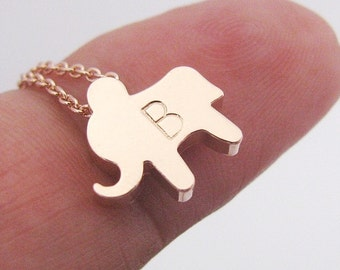 Personalized Elephant Necklace with Initial Charm in Gold, Silver or Rose Gold