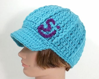 Turquoise Blue Beanie with Visor inspired by The String Cheese Incident, ON SALE - MED