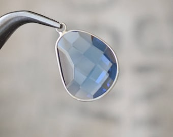 Faceted large LIGHT BLUE bezel set Charms pendants - 30x21x6mm (1195)