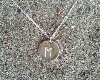 Monogram Necklace, Initial Necklace, Sterling Silver Round Charm