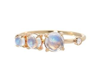 Moonstone Ring, Moonstone Diamond Stacking Ring, Engagement Ring, Cluster Ring, Asymmetrical Ring, Yellow Gold Moonstone Ring, Nixin