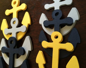 48 XLarge Nautical Anchors Confetti Party Decor - Navy, Yellow and Gray
