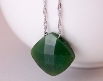 Bail-Free Nephrite Jade Pendant Necklace – 925 Sterling Silver Chain