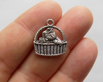 10 Cat Charms - Cat in a Basket Charms - Kitten in Basket - Silver Tone  - #S0017