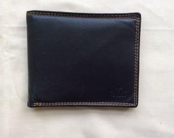 Vintage black leather pocket wallet, billfold wallet.90s Rowellan wallet.