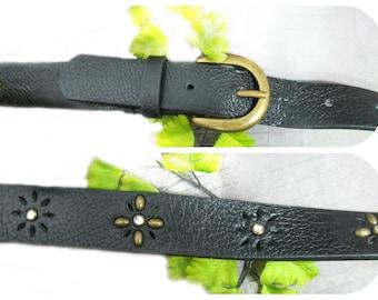 fashion belt - women's belt - casual belt - waist belt -Vegan leather belt - black leather belt -waist 30 to 34 inches  # B62