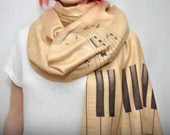 Music scarf, Piano Scarf, cream beige scarf, Music notes scarf, long soft scarf/shawl