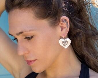 Silver Heart Earrings, Dangle Earrings, Drop Earrings. Heart Earrings, Solid Silver Earrings, Hammered Silver, Holiday Gifts,Silver Earrings