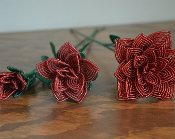 3 french beaded flowers handmade roses different sizes red color