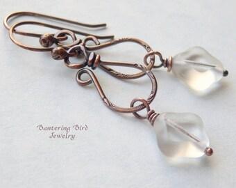 Clear Dangle on Unusual Hammered Copper Earrings, Diamond Shaped Glass Bead, Everyday Earrings, Boho Copper Jewelry