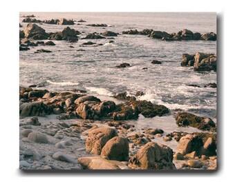 Coastal wall art, nautical wall art, extra large picture, California seashore rocky beach, living room bedroom office decor, Monterey bay