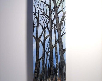 tree painting, Winter Trees, original acrylic painting on canvas, home decor, wall art, acrylic painting