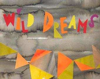 Big Wild Dreams Modern Art print Abstract Art Mid Century print poster Modernist orange yellow grey 11 x 16