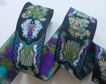 "Woven Jacquard Trim | Jacquard Ribbon | 1-1/4"" Purple~Green~Black | One yard"