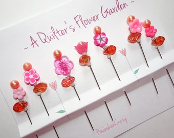 Pink Quilting Pins - A Quilter's Flower Garden - Gift For Quilter - Fancy Sewing Pins - Retreat Gift - Sewing Accessory - ONE SET ONLY