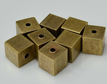 20 Pcs Antique Brass 8 x 8 mm Square Cube  Beads, 2 mm hole