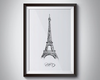 Hand Drawn Eiffel Tower Print, Instant Download, Digital File