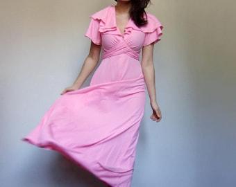 Summer Maxi Dress Vintage 70s Pink Sundress 1970s Empire Waist Long Dress  - Extra Small XS