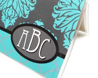Personalized checkbook cover - Winter Damask - elegant monogram check book holder - grey, turquoise, black - bridesmaid's gifts
