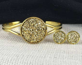 Gold Druzy Jewelry Set - Druzy - Gold - Cuff Bracelet - Druzy Earrings - Gold Jewelry - Gold Earrings - Gold Bracelet - Druzy Jewelry - Gift