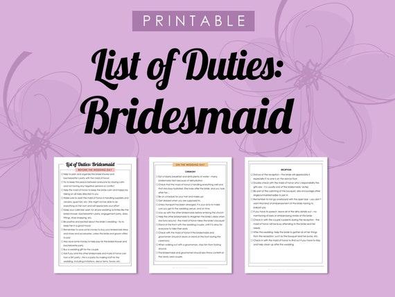 Printable List Of Duties: Bridesmaid Wedding Planner To Do