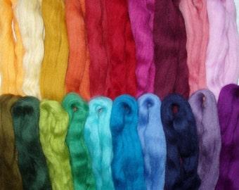 255g (68.63 Euro/kg) 9oz merino wool roving felting wool spinning fiber roving wool needle felting wool doll hair,20 colours,no.70,100% wool
