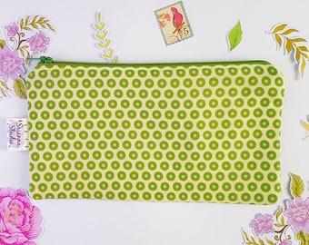 Zipper Pouch, Organizer, Coin Purse, Cosmetic Bag, Pencil Pouch, Bag, Gift for Her, Green Polka Dot Retro