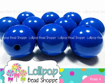 20mm Beads ROYAL BLUE Beads Gumball Beads Bubblegum Beads Chunky Beads Bubble Gum Beads Acrylic Beads Dark Blue Beads Round Beads DIY Qty 10