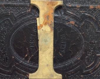Vintage Brass Letter I