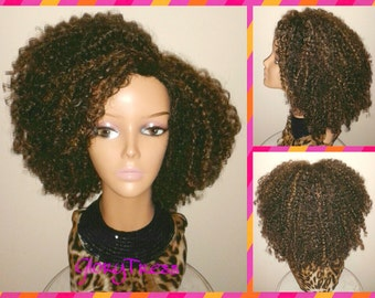 ON SALE // Kinky Curly Wig, Short Curly Half Wig, Big Natural Afro Wig, African American Wig // TRUST