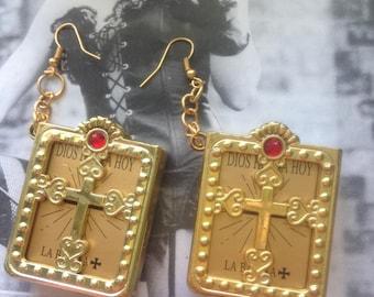 Gold Bible Earrings